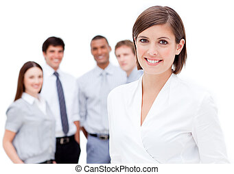 歡樂, 經理, 前面, 她, 隊, 針對, a, 白色 背景