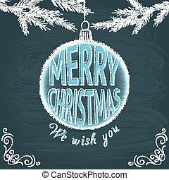 歡樂, 黑板, 賀卡, 聖誕節