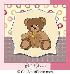 歡迎, 嬰孩, 卡片, 由于, 玩具熊