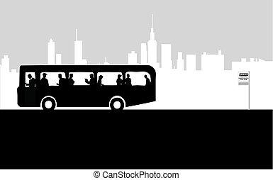 止まれ, バス