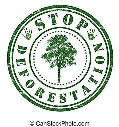 止まれ, 山林伐採, 切手