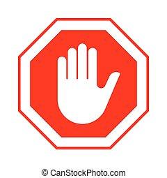 止まれ, 手, 入りなさい, ない, 印, 赤