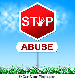 止まれ, 濫用, 表す, 性的に, 襲撃, そして, 注意