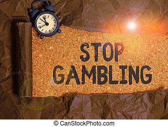 止まれ, costs., 意味, gambling., 有害である, despite, 概念, 衝動, 手書き, テキスト, 賭け, continuously