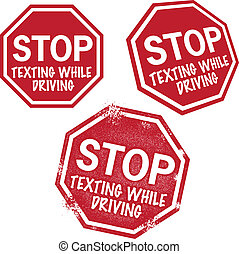 止まれ, texting, 運転, 間