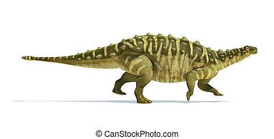 正しい, 切り抜き, 科学的に, representation., talarurus, 低下, 恐竜, 側, 白,...