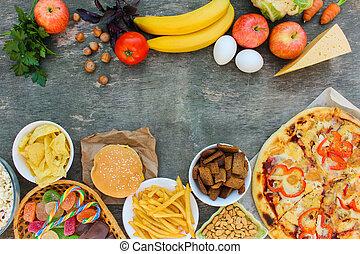 正しい, fastfood, 概念, 古い, 栄養, 健康, 上, がらくた, eating., バックグラウンド。, 食物, 選択, 木製である, ビュー。, ∥あるいは∥