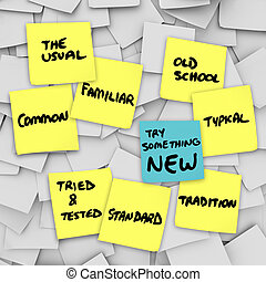 正常, ルーチン, の上, それ, 試み, 何か, 振動, 新しい, 変化しなさい, 普通