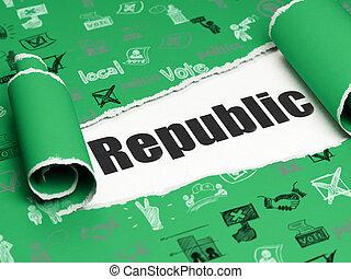 正文, 撕破, 政治, 紙, 黑色, 在下面, 共和國, 部分,  concept: