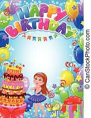 正文, 生日, 地方, 女孩, 卡片, 愉快