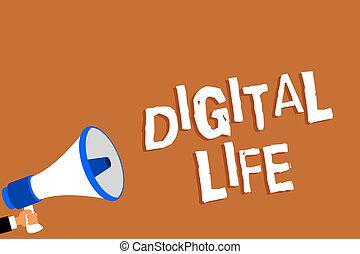 正文, 签署, 显示, 数字, life., 概念性, 照片, 生活, 在中, a, 世界, 相互连接, 通过, 因特网, 多媒体, 人, 握住, 扩音器, 扬声器, 桔子背景, 消息, 讲话, loud.