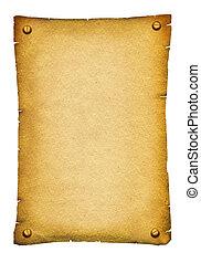 正文, 紙, 古董老, 背景, 紙卷, texture., 白色