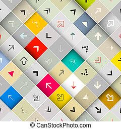 正方形, 箭, 斜紋織物, 背景