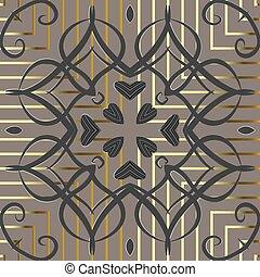 正方形, 装飾用, スタイル, 花, 手ざわり, pattern., アラビア, 花, 華やか, しまのある, ベクトル, 抽象的, 金, アラベスク, seamless, 無限, 型, 幾何学的, ストライプ, ornament., 愛, バックグラウンド。, 渦巻, hearts.
