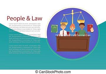 正直, 本, 法律, 家, 裁判官, 正義, 裁判陪審, 聖書, 裁判官, ベクトル, 漫画, illustration., 概念