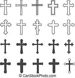 正統, デザイン, 十字架像, キリスト教徒, 交差点, 装飾用である, 隔離された, 平ら, 教会, crosses., セット, 宗教, ベクトル, シンボル, カトリック教, 信頼