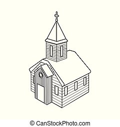 正統, 印。, web., コレクション, ベクトル, イラスト, 教会, チャペル, シンボル, 株