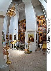 正統, fisheye., novgorod, 地域, russia., 内部, 教会, ロシア人