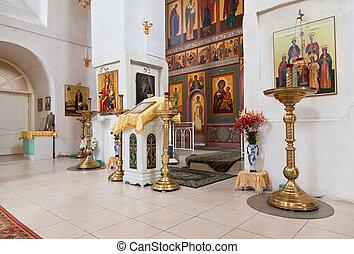 正統, novgorod, 地域, russia., 内部, 教会, ロシア人