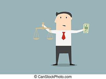 正義, お金, ビジネスマン, スケール