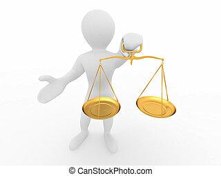 正義, シンボル, scale., 人
