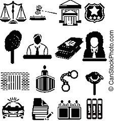 正義, セット, 法廷, 法律, アイコン