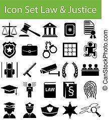 正義, セット, 法律, アイコン