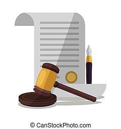正義, ハンマー, 法律, デザイン, 文書