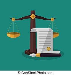 正義, バランス, 文書, デザイン, 法律