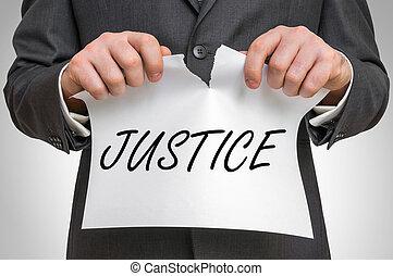 正義, ビジネスマン, 引き裂くこと, ペーパー, 単語