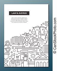 正義, ポスター, -, デザイン, a4, テンプレート, パンフレット, 線, 法律