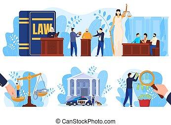 正義, 人々, ベクトル, 法律, セット, 法廷, 概念, イラスト
