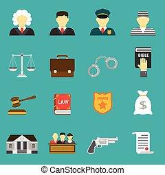 正義, 平ら, セット, 法律, アイコン