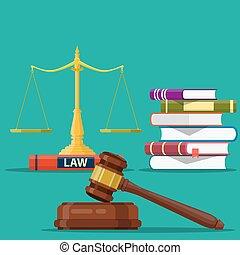 正義, 木製である, 裁判官, gavel., スケール