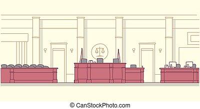 正義, 法廷, 裁判所, 内部, 旗, いたずら書き, 横, 家具, 概念, スケッチ, 裁判官, 空, 陪審, 席, 法学, 現代, 仕事場, 箱, 木製である, 秘書
