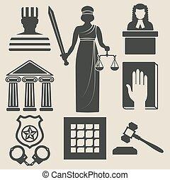 正義, 法律, セット, アイコン