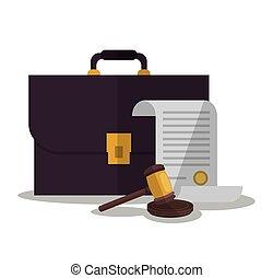 正義, 法律, デザイン, 文書, スーツケース