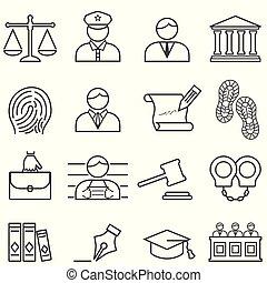正義, 法律, 弁護士, そして, 法廷, アイコン, セット