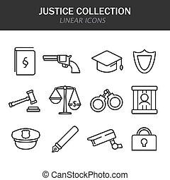 正義, 白, アイコン, コレクション, 線である, 背景, 黒