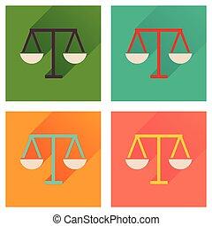 正義, 長い間, 影, アイコン, 概念, 平ら, スケール