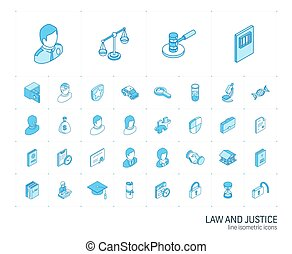 正義, icons., ベクトル, 線, 3d, 法律, 等大