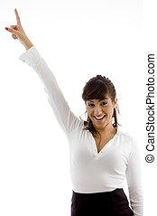 正面圖, ......的, 微笑, 從事工商業的女性, 指, 向上