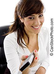 正面圖, ......的, 微笑, 從事工商業的女性, 看電視