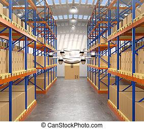 正面圖, ......的, 雄峰, 攜帶貨物, 在, 現代, 倉庫