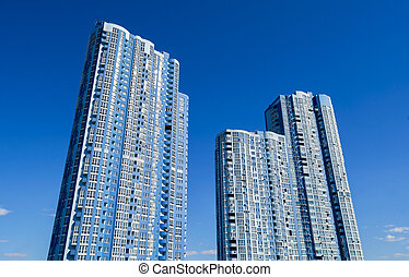 正面, 摩天楼, 角度, 低, 察看