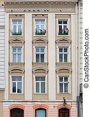 正面, ......的, a, 建築物, 由于, windows