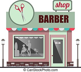 正面, barbershop, 套間, design.