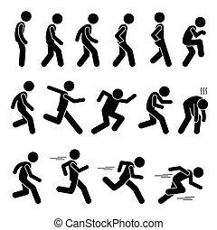 步行, 以及, 跑, 姿勢