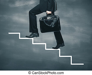 步行, 梯子, 圖畫, 商人