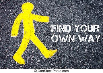 步行, 自己, 圖, 發現, 行人, 朝向, 方式, 你